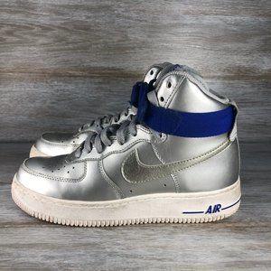 Women's High Metallic Silver Nike Air Force 1 2009